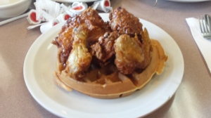 Crunchy Golden Fried Chicken, honey, sweet golden waffles