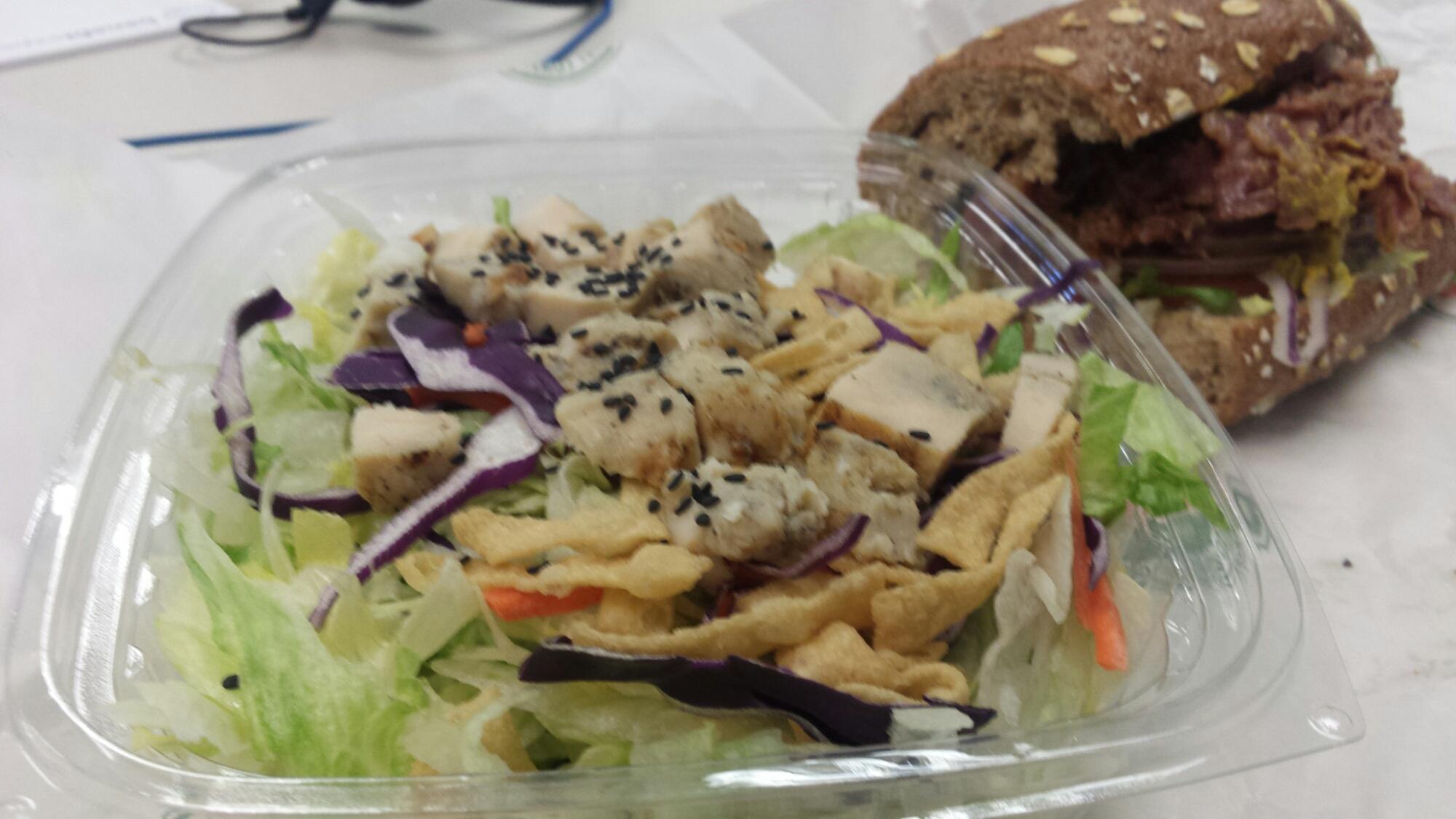 Asian Chicken Salad, Pastrami Sandwich-Half and Half