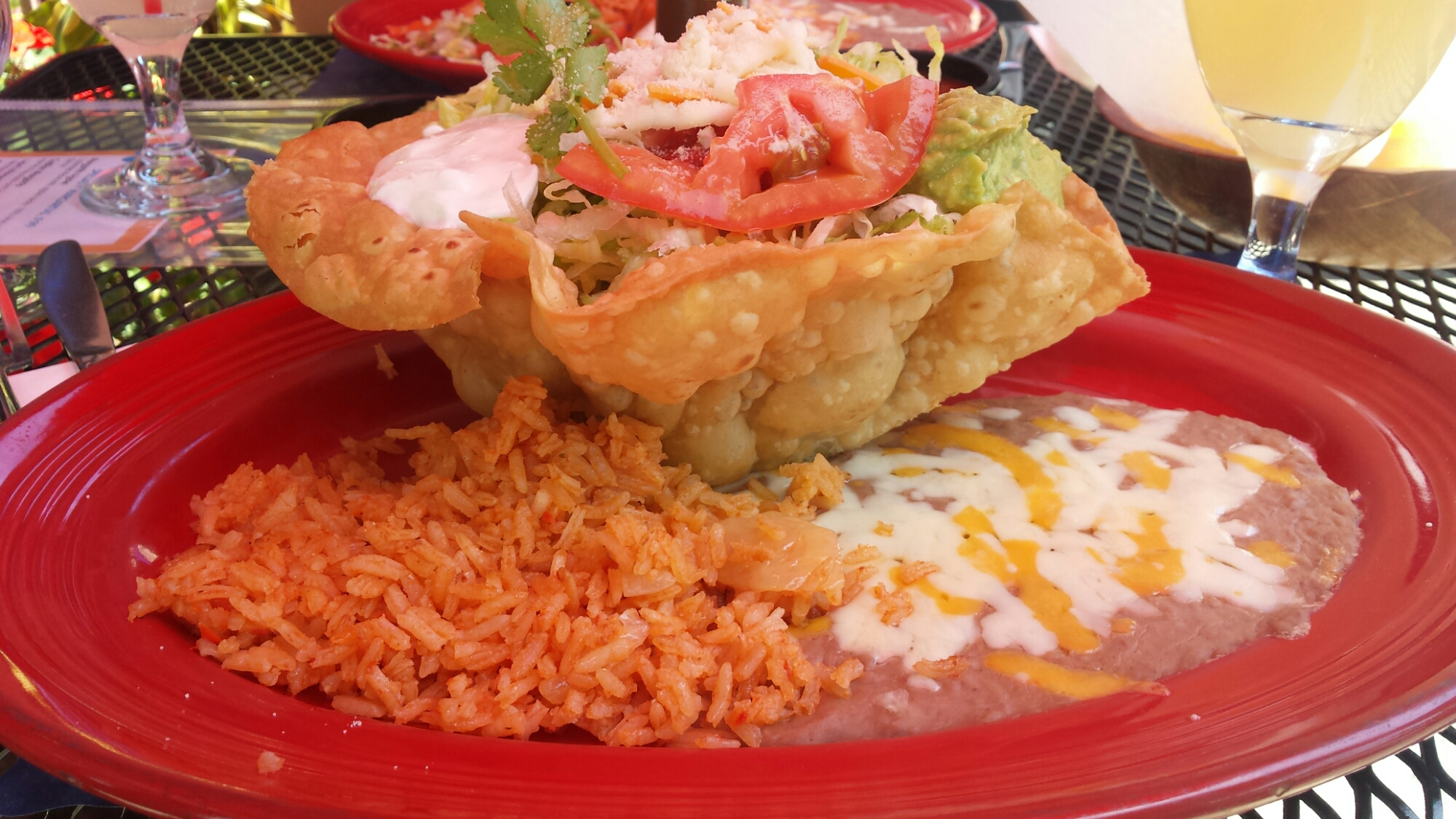 Chicken Tostada with Rice and Beans