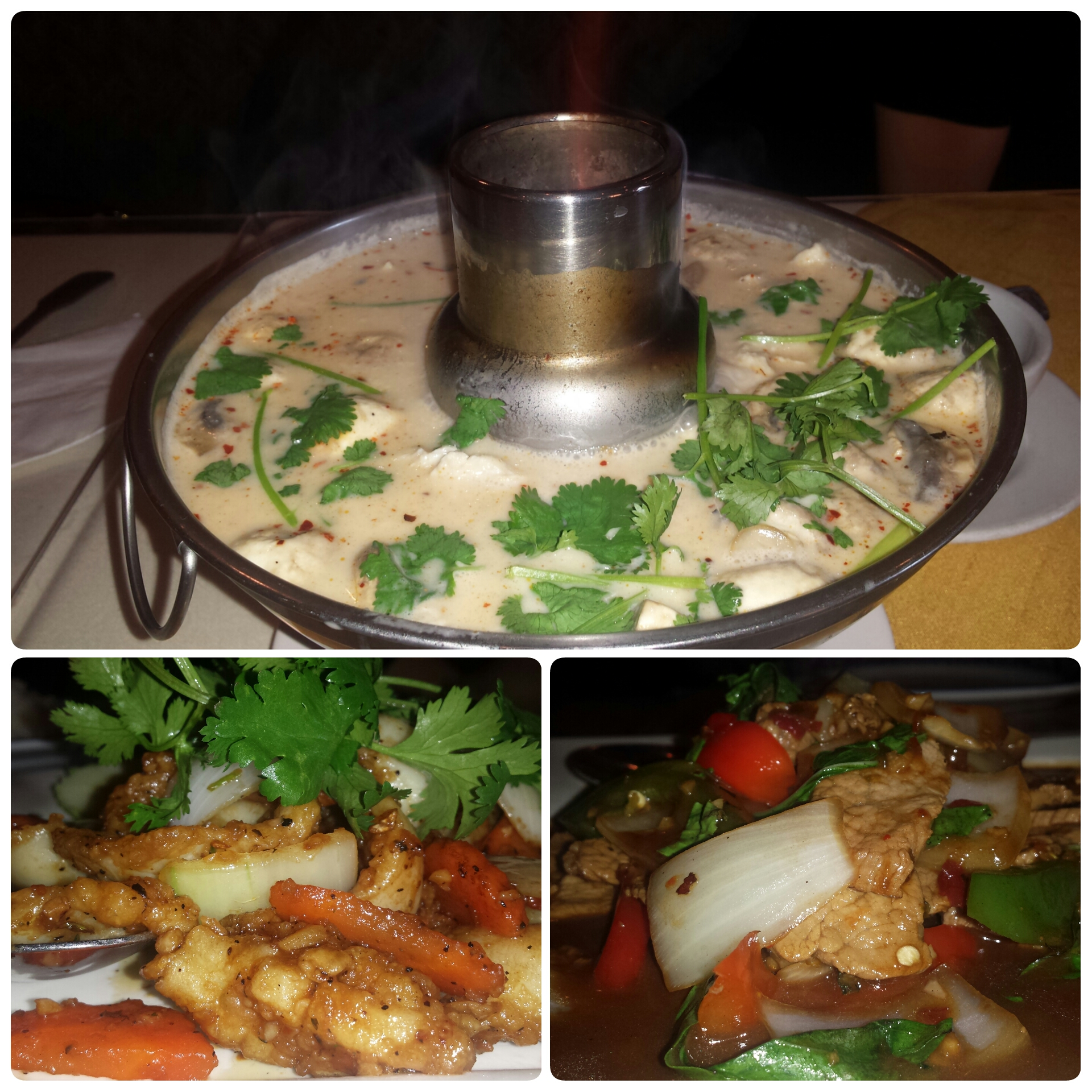 Tom Kha Kai, Calamari in Garlic Sauce, Chicken in Thai Basil