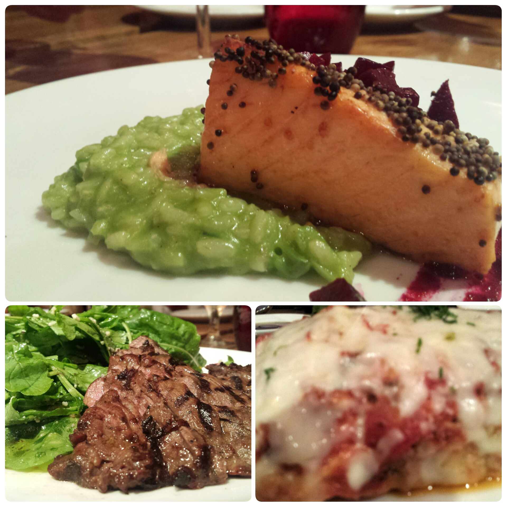 skirt steak, salmon, lasagna