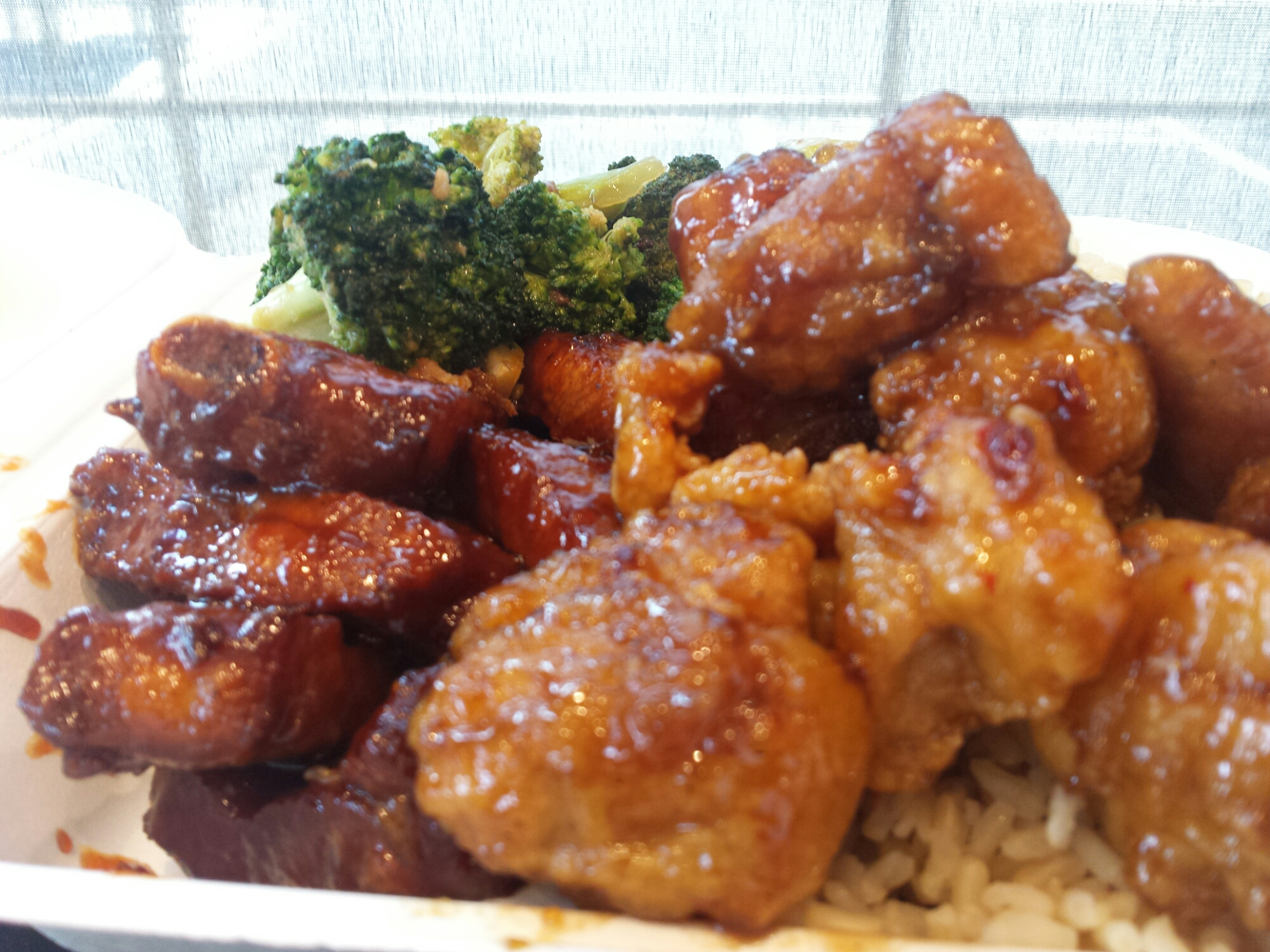 Chinese Spare Ribs, Orange Chicken, Beef Broccoli, Brown Rice