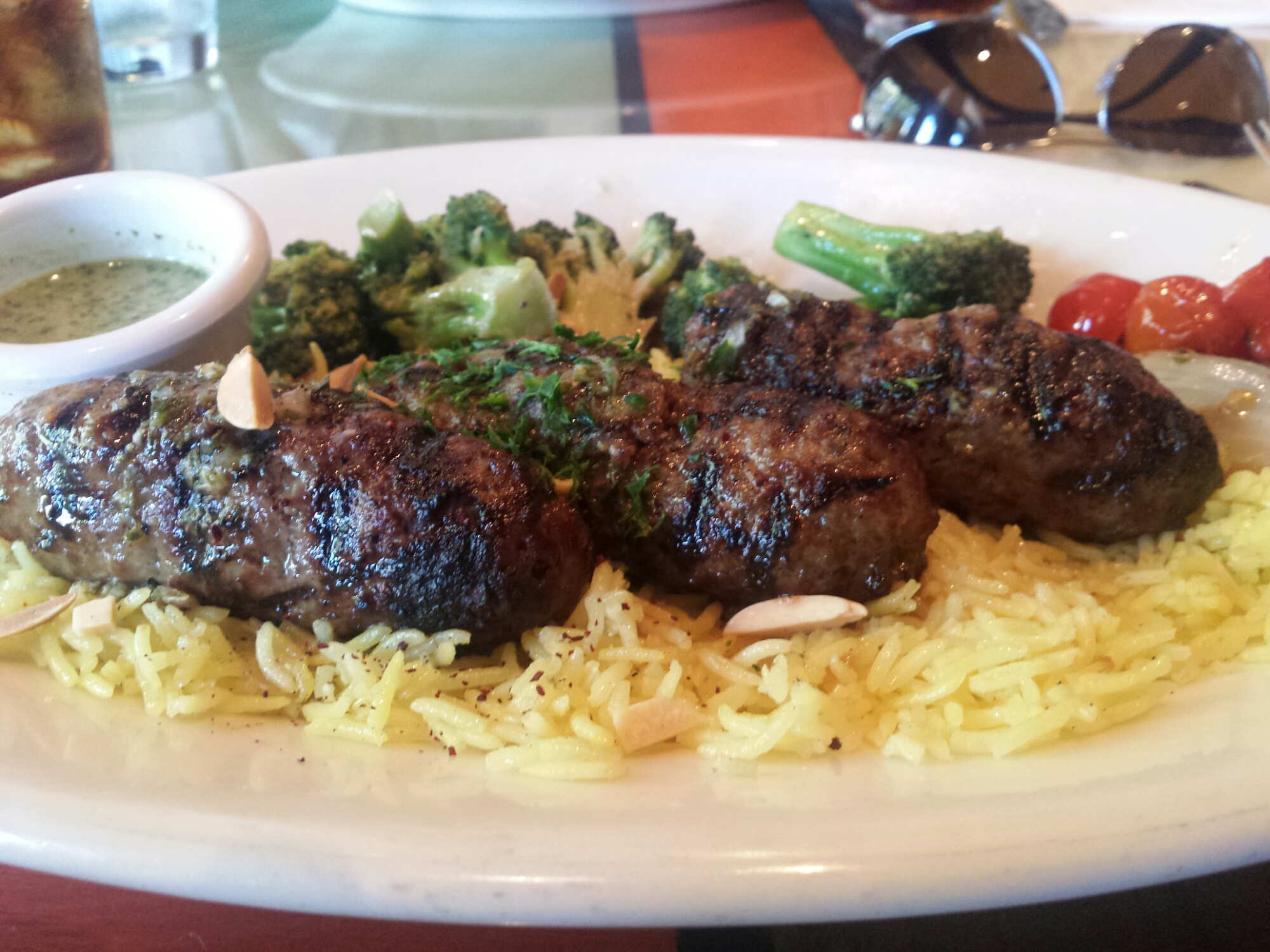 Kufta Kebab minced beef & lamb w/blended herbs, seasonal vegetables