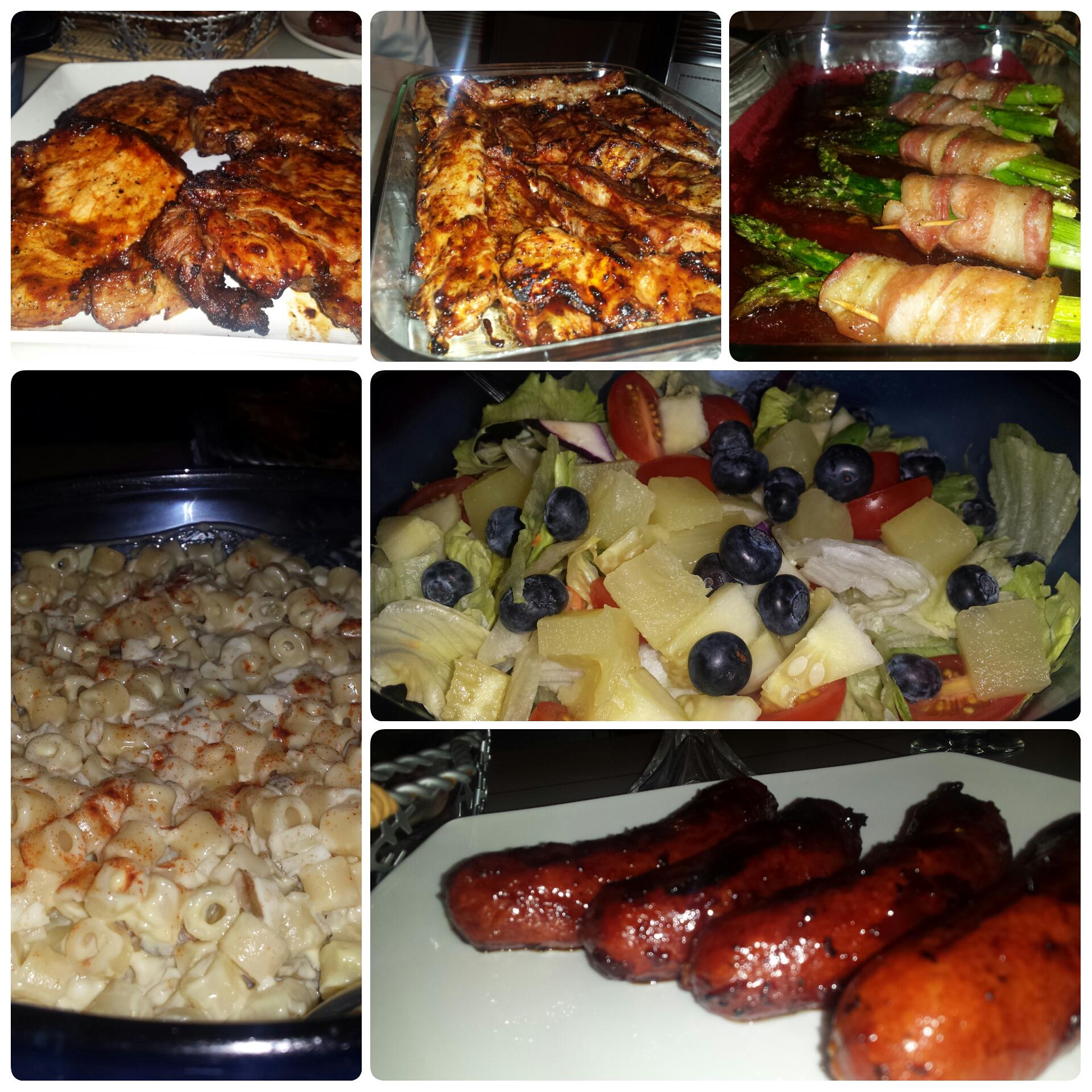 barbecue pork chops, brown sugar bacon wrapped asparagus, pork riblets, macaroni salad, hotlinks, salad