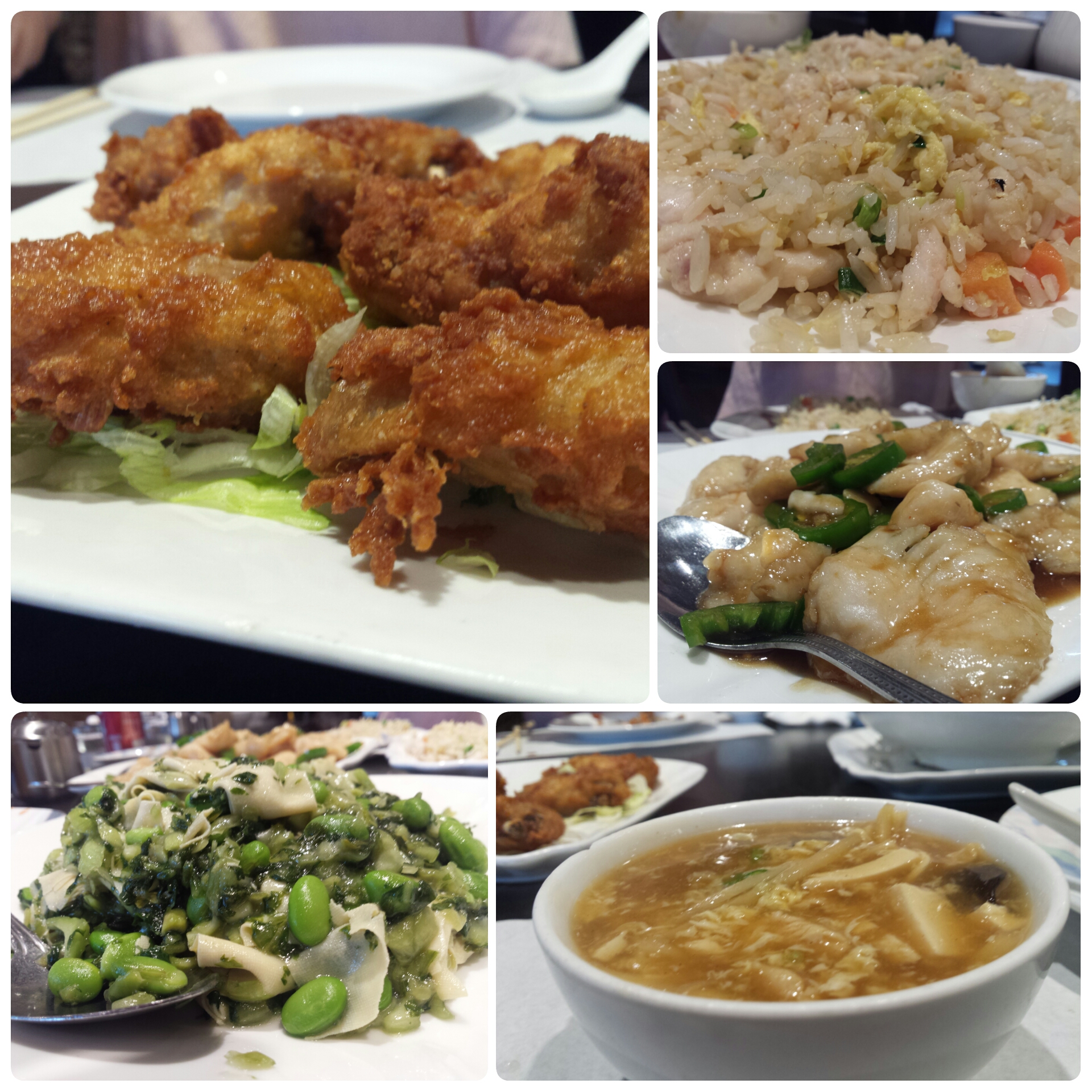 fried chicken, edamame, hot and sour soup, deep fried fish spicy garlic sauce,  chicken fried rice