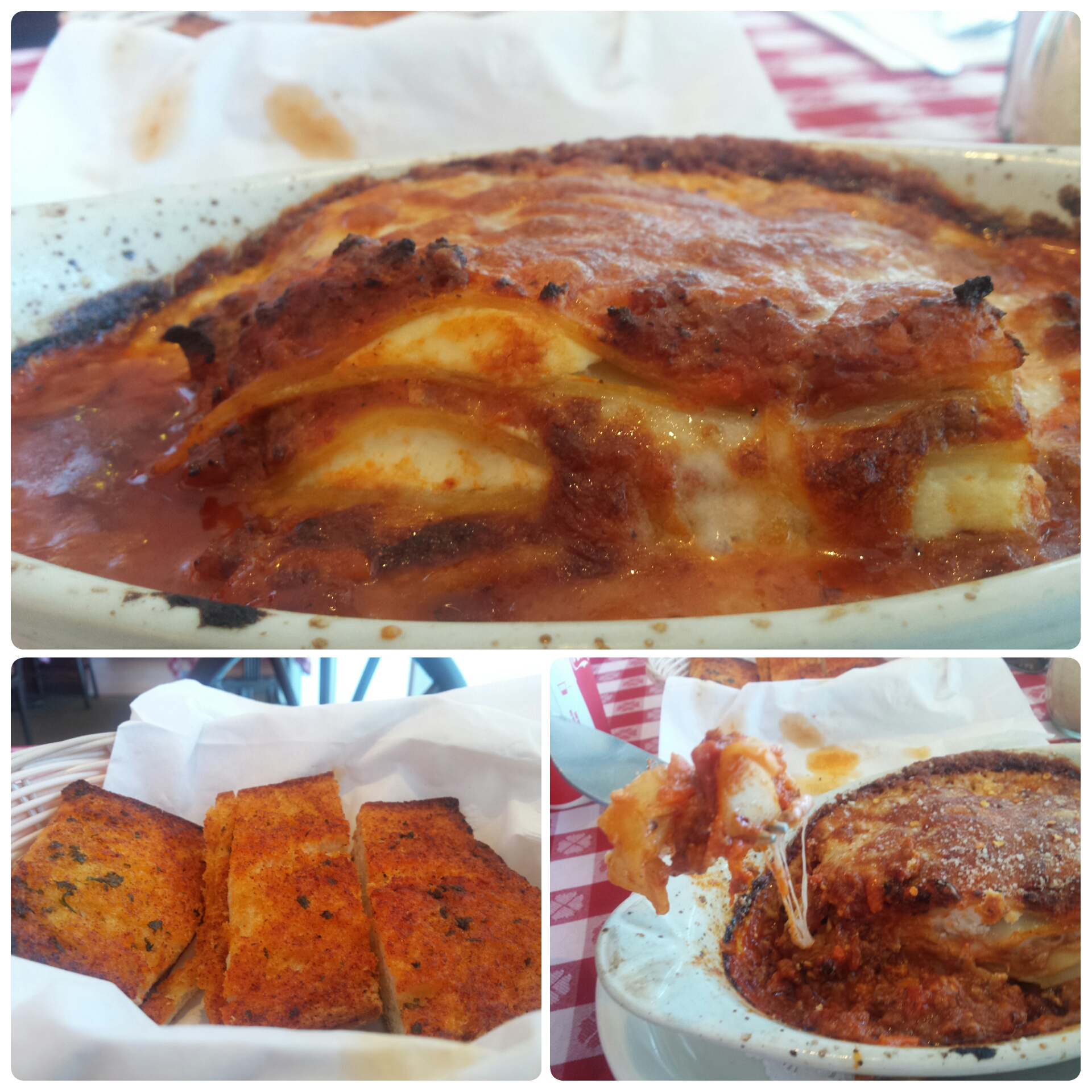 Meat Lasagna, Garlic Bread
